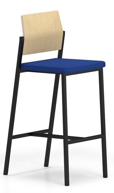 Avon Guest/Reception Stool with Upholstered Seat and Laminate Back