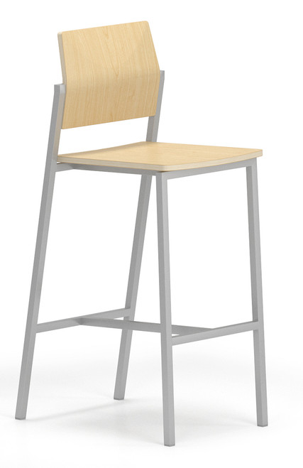 Avon Guest/Reception Stool with Laminate Back and Seat in Natural Maple, no arms