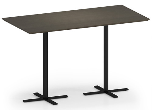 "Avon Rectangular Table, 42""H in Walnut laminate and black base"