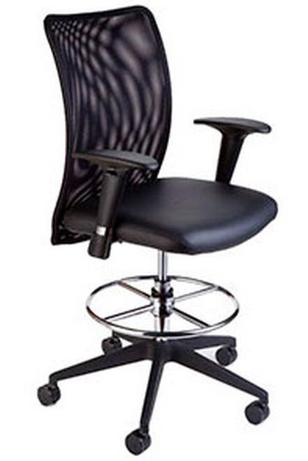 Compel Argos Drafting Stool, in-stock Black Flexi fabric