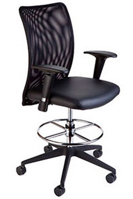 Compel Argos Drafting Stool, in-stock Black Flexi fabric