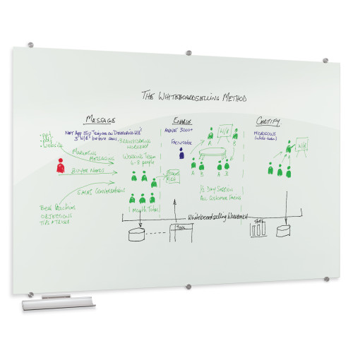 Visionary® Opaque White Magnetic Glass Dry Erase Whiteboard with aluminum tray
