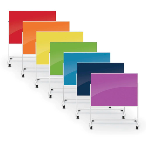 Visionary® Move Magnetic Glass Dry Erase Board, All Colors