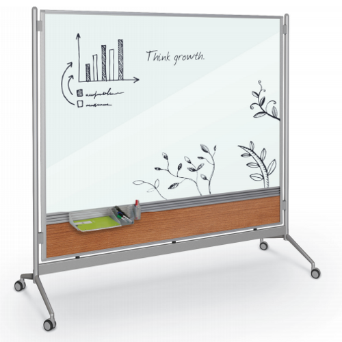 InMotion Magnetic Whiteboard, Amber Cherry Laminate on Lower Panel