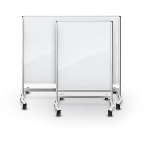 Visionary® Move Magnetic Glass Dry Erase Board,  White with Silver Frame