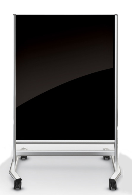 Visionary® Move Magnetic Glass Dry Erase Board, Black with Silver Frame