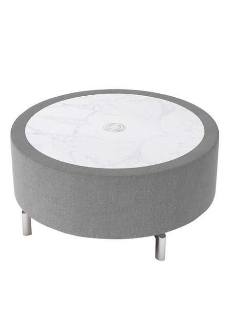 "Jefferson Lounge Series - 32"" Round Table, taupe with marble top"