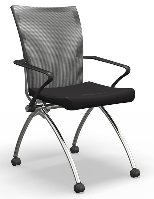 Mayline Valoré Upholstered Training High-Back Nesting Chair in black seat fabric w/ optional arms
