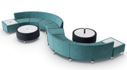 Jefferson Lounge Series - Snake Typical  in light blue, charcoal coffee tables