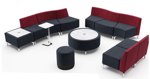 Jefferson Lounge Series - Curve Curve Straight Straight Typical, burgundy and charcoal