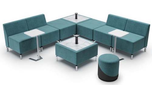 Jefferson Lounge Series - L Shape 2 Tables Typical, light blue