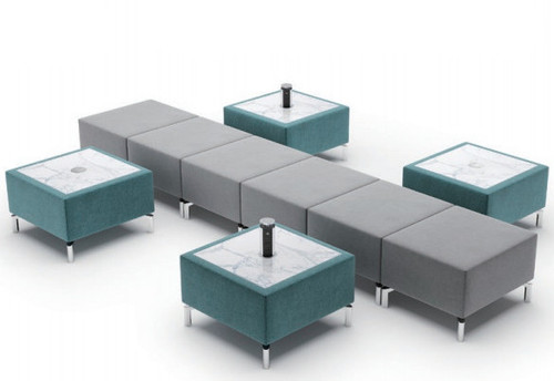 Jefferson Lounge Series - Straight 4 Tables Typical, light blue and taupe