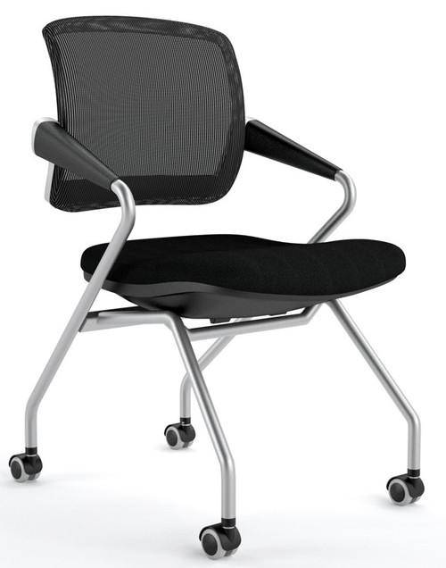 Mayline Valoré Training Mid-Back Nesting Chair with black mesh back