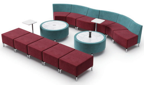 Jefferson Lounge Series - Curve Straight Typical, burgundy and light blue