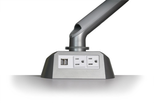 Symmetry King Cobra Single Monitor Arm with Power & USB Module