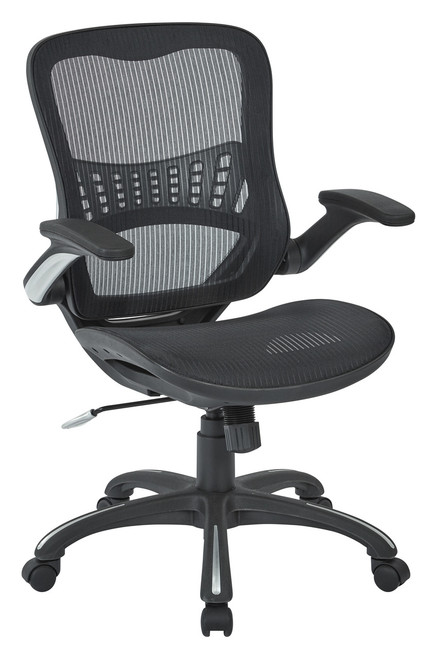Flip Arm Mesh Manager's Chair, 3/4 view black