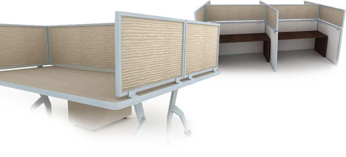 Desk & Cubicle Mount Privacy Panels with Acoustical Panel in Moss and Aluminum Frame