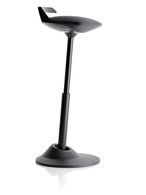 Via Muvman Standing Support Stool in Black Vinyl Seat and Black Base