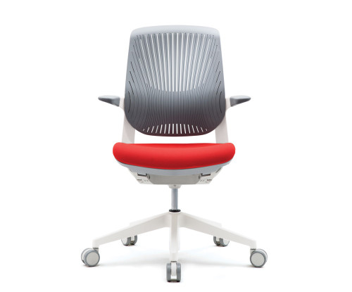 FLYT White/Grey Flex Back Task Chair with Cardinal seat