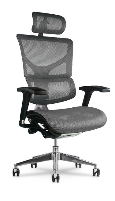 X2 Executive Task Chair with Headrest, in Grey K-Sport Mesh