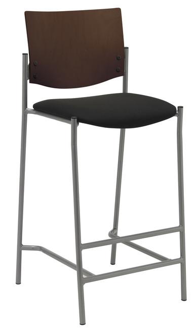 "Evolve Upholstered Stool with Espresso Wood Back, 30"""