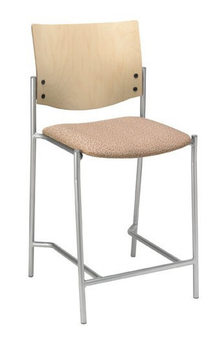 "Evolve Upholstered Hip Stool with Wood Back, 25"" seat"