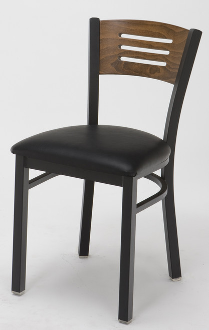 Wood Back Upholstered Cafe Chair, Black Sandex frame and Walnut back with upholstered seat