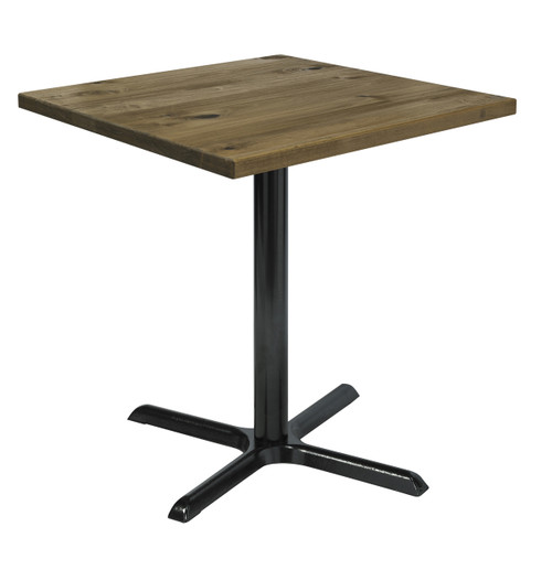 "Urban Loft Table with 30"" Square Top, Barnwood with X Base"