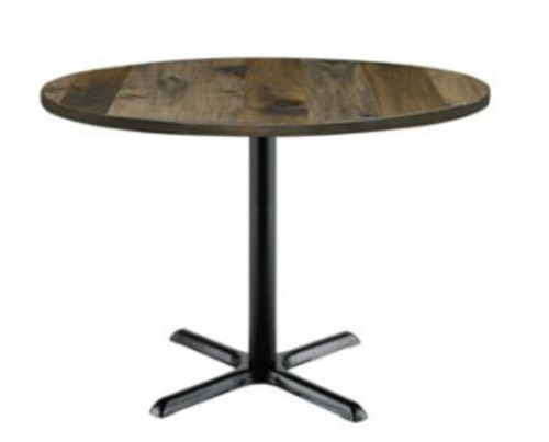 "Urban Loft Table with 30"" Round Top, Barnwood with X Base"