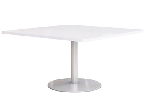 "Fuse Table with 42"" Designer-White Laminate Top and Silver Round base"
