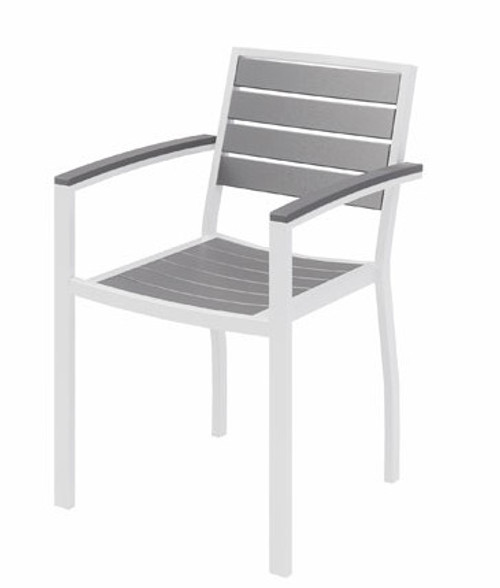 Eveleen Aluminum Frame Guest, Grey Polypropylene seat and back, white frame