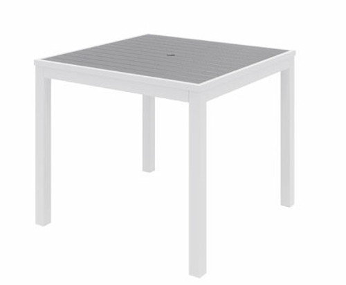 Eveleen Aluminum Frame Square Table, Grey top and White frame