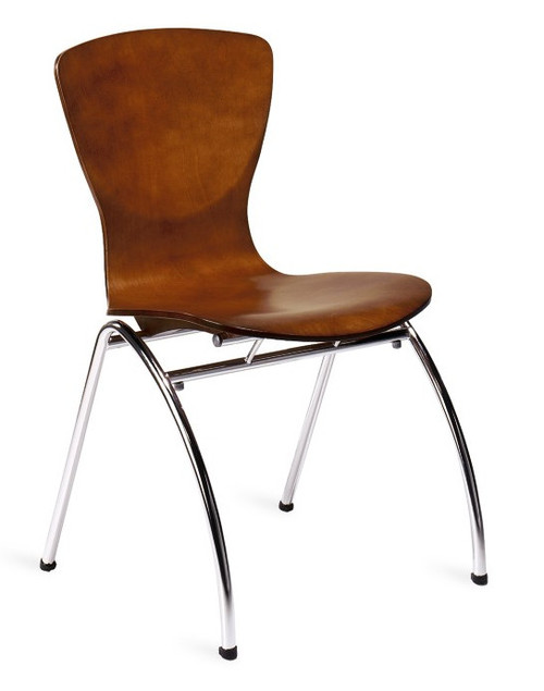 Kimball Bingo Stacking Side Chair, Amber Wood Finish