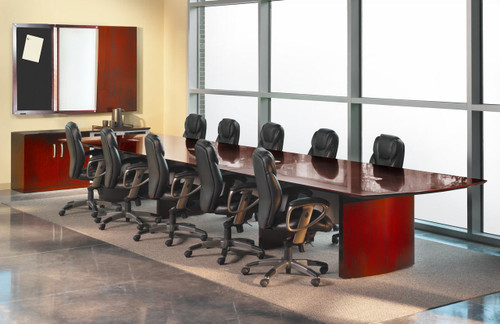 Mayline Napoli Veneer 18' Conference Table In Office Setting With Chairs