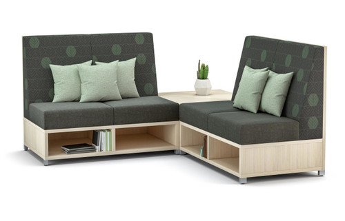 LB Lounge 'twin' (2) 2 Seaters with Leave Likatre Laminate Storage
