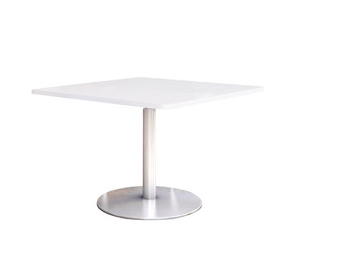 "Fuse Table with 24"" Designer-White Laminate Top and Silver Round Steel Plate base"
