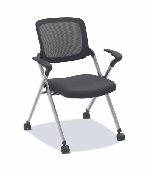Assemble Mesh Back Nesting Chair, with arms and silver frame