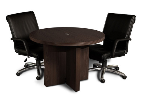 "Mayline Aberdeen Laminate 42"" Round Conference Table with Mocha finish and chairs"