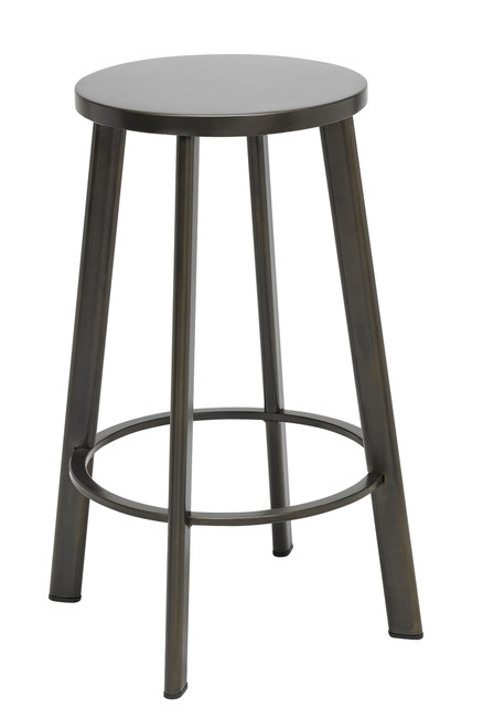 Metro Metal Stool with Natural Steel with Natural Seat, Counter Height