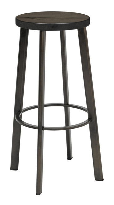 Metro Metal Stool with Barnwood Seat, Bar Height