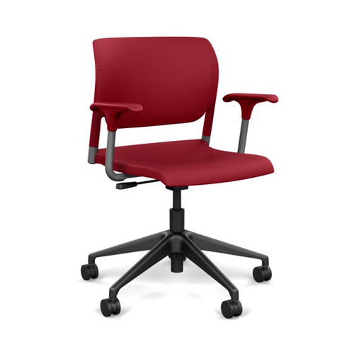 SitOnIt Inflex Light Tasker, silver frame, red shell and matching arms