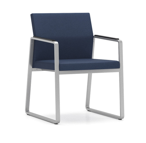 Gansett Guest Chair in silver frame finish with black urethane armpads