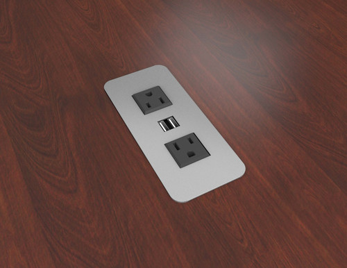 Cove Series Surface Mount Corded Power Module; 3 power outlets, 2 USB - silver pearl
