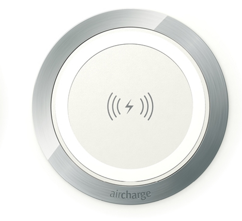 Aircharge Wireless Surface Grommet, white aluminum