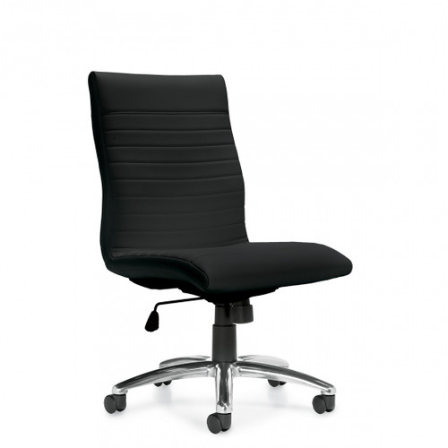 Luxhide Managers Chair, Armless, Side View