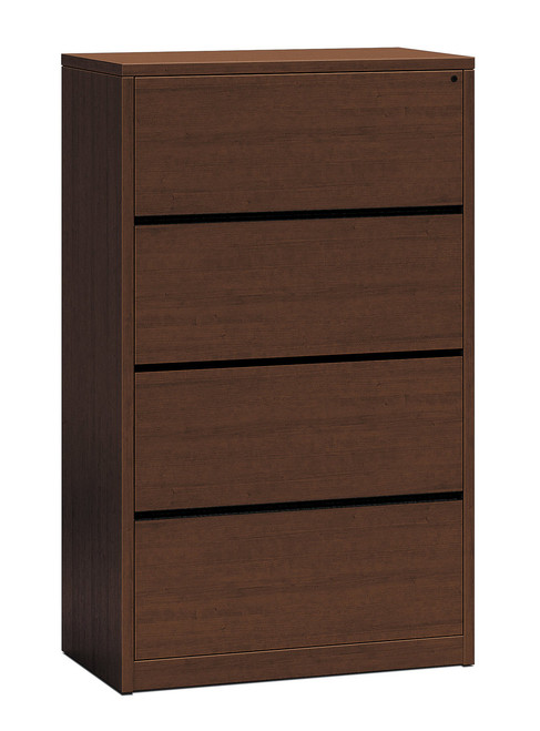 Hon 10500 Series Woodgrain Laminate Four Drawer Lateral File, shown here in Mahogany, but available in Pinnacle and Walnut as illustrated below