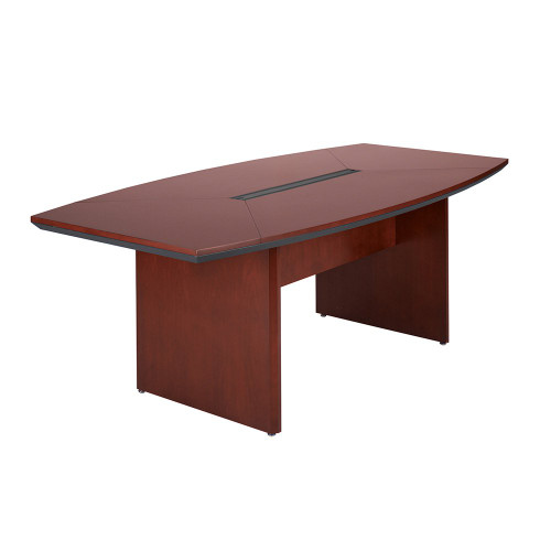 Mayline Corsica Wood Veneer 7' Boat-Shaped Conference Table with Sierra Cherry Finish