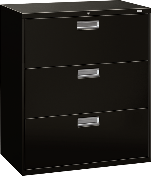 "Brigade 600 Series Three Drawer Lateral File, 36"" in Black (P)"