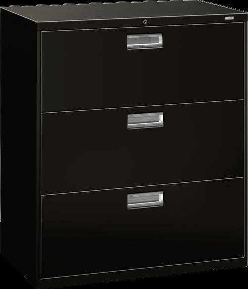 "Brigade 600 Series Three Drawer Lateral File, 36"" in Black (P)"