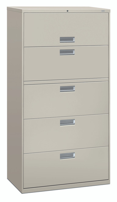 "Brigade 600 Series Five Drawer Lateral File, 36"" in Light Grey (Q)"